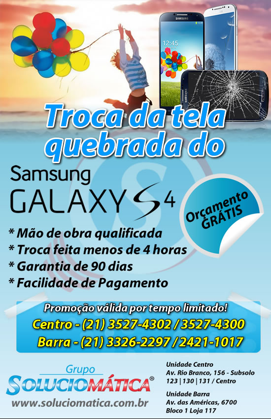 galaxy s4 tela quebrada