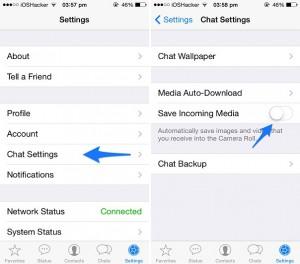 Pare o WhatsApp de baixar imagens para o aplicativo Photos no Iphone
