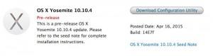 Lançado Primeiro Beta OS X 10.10.4 Yosemite para desenvolvedores