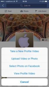 Como definir um loop de vídeo como imagem do seu perfil Facebook no iPhone