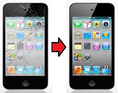 tela quebrado ipod touch 4g