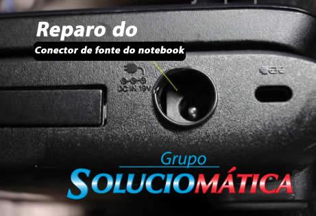 reparo do conector de fonte de notebook